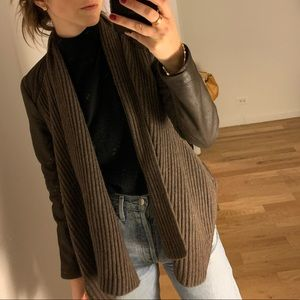 Vince leather and knit jacket